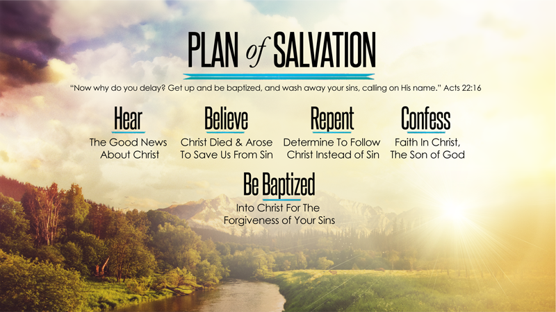 Plan of Salvation: Hear, Believe, Repent, Confess, Be Baptized Into Christ